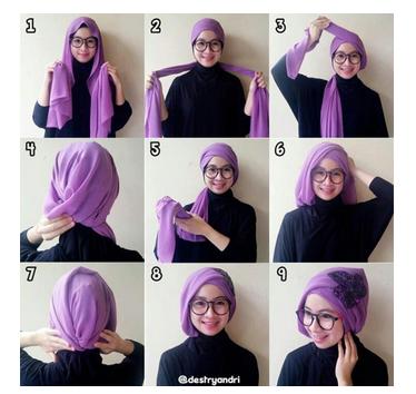 Contoh model gaya hijab terbaru simpel dan gambar tutorialnya